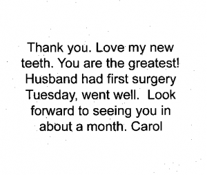 thank you note from patient