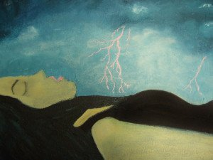 painting of sleeper in storm