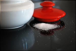 spilled white sugar