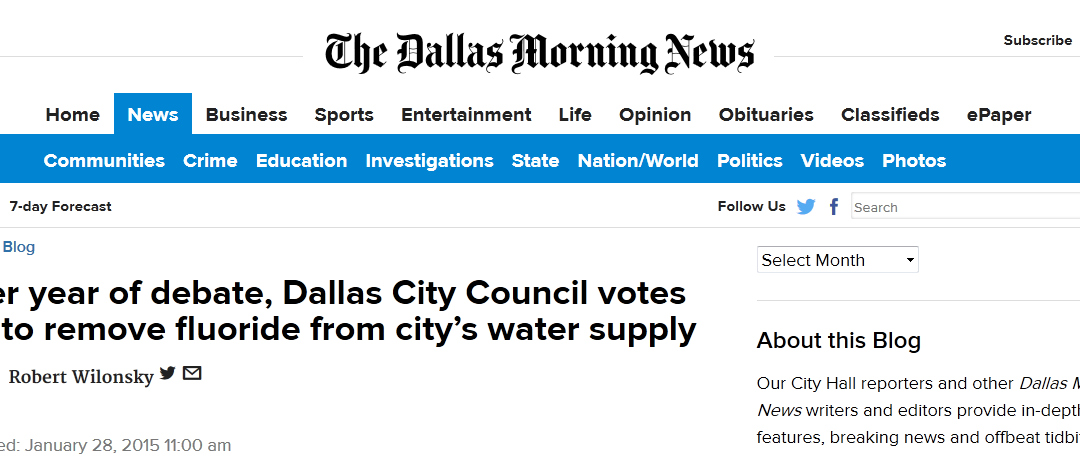 Yesterday's Fluoride Vote in Dallas