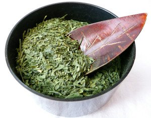 green tea leaves in bowl