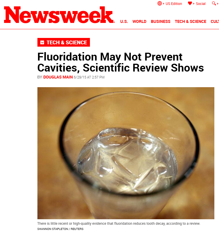 Newsweek headline on fluoridation review