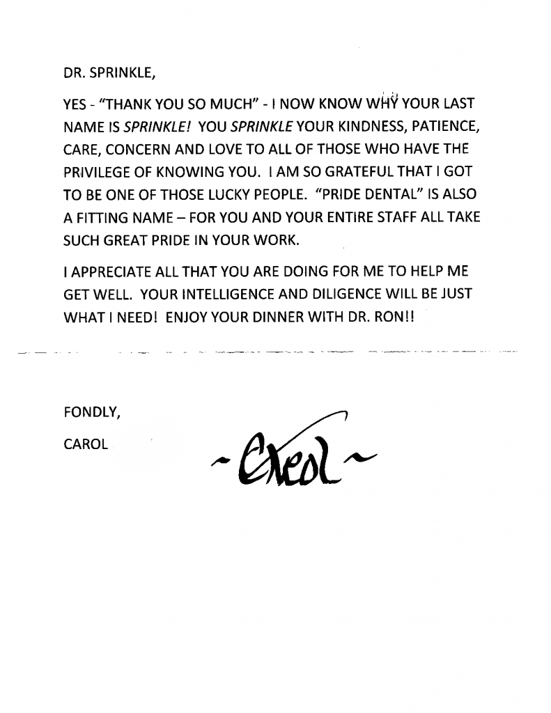 thank you note to Pride Dental