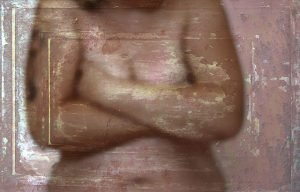 woman holding her middle body