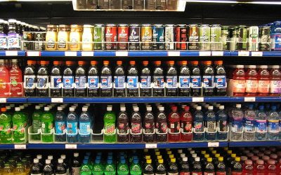 soft drink cooler in grocery store
