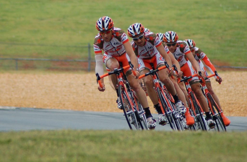 athletes on bicycles