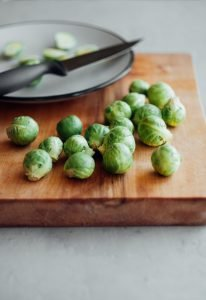 brussel sprouts on cutting board