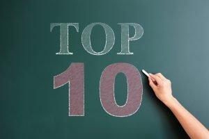 "hand writing ""top 10"" on chalkboard"