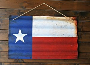 Texas flag on wood