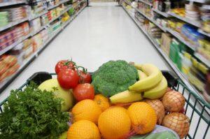 grocery cart full of fresh produce